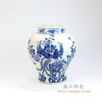 RZOY04 景德镇陶瓷 手绘青花花鸟凤凰图案陶瓷罐