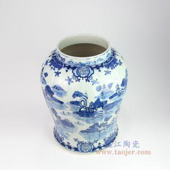 RZOY05 景德镇陶瓷 仿古手工手绘山水青花瓷罐