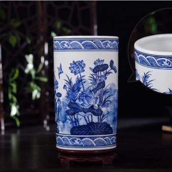 RZKD24 景德镇陶瓷 手绘青花箭筒