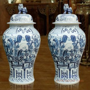 RYWY06-F 景德镇陶瓷 青花狮子头王母贺寿落地花瓶