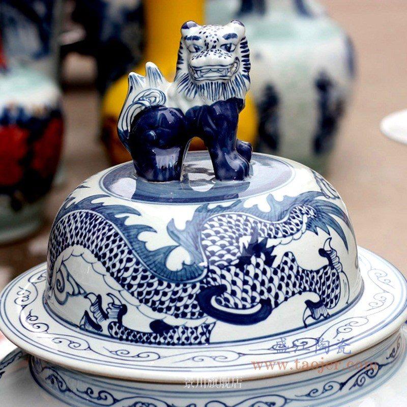 RYWY06-b 盛江陶瓷 手绘青花龙纹将军罐