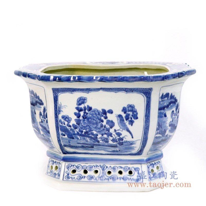 RYLU167 盛江陶瓷 仿古手绘青花山水花鸟多边形六方花盆