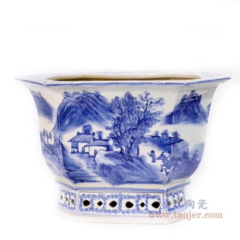 RYLU168-big 景德镇陶瓷 仿古手绘青花山水人物多边形花盆