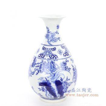 RYCI60 景德镇陶瓷 仿古做旧手绘青花瓷花瓶