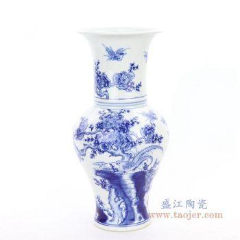 RYCI61 景德镇陶瓷 仿古做旧青花瓷花鸟赏瓶