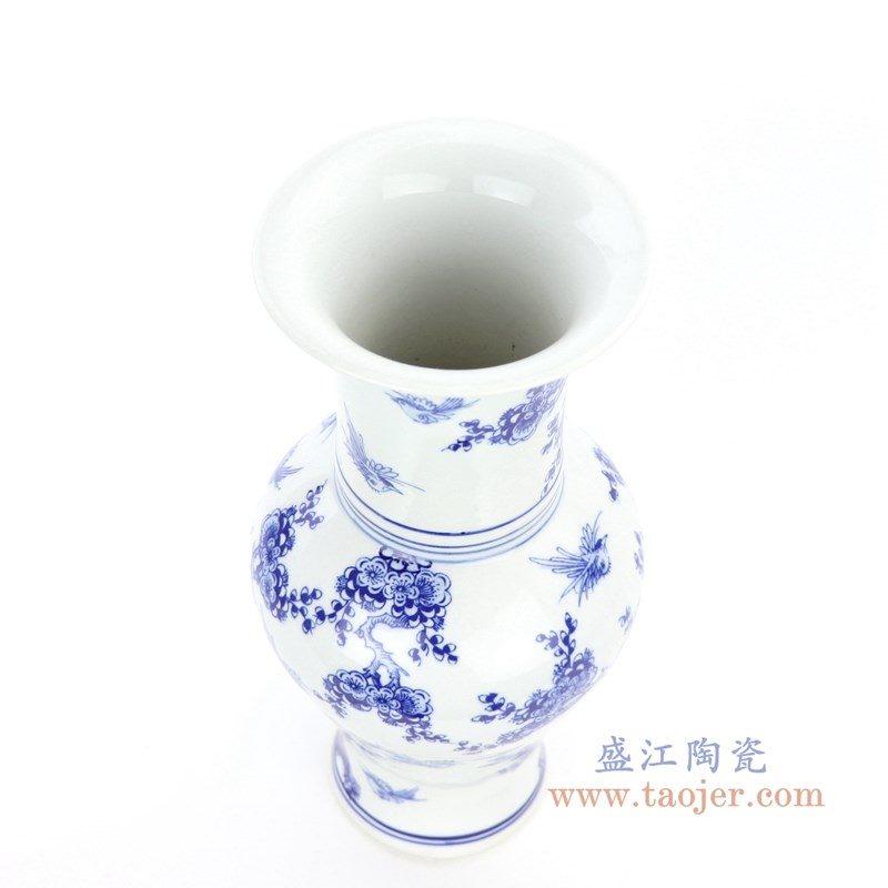 RYCI61 盛江陶瓷 仿古做旧青花瓷花鸟赏瓶