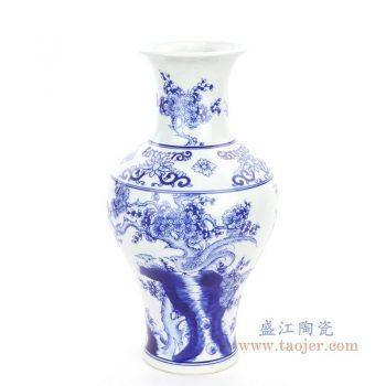 RYCI62 景德镇陶瓷 仿古做旧青花瓷花鸟赏瓶