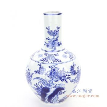 RYCI63 景德镇陶瓷 仿古做旧青花瓷浮雕花瓶天球瓶