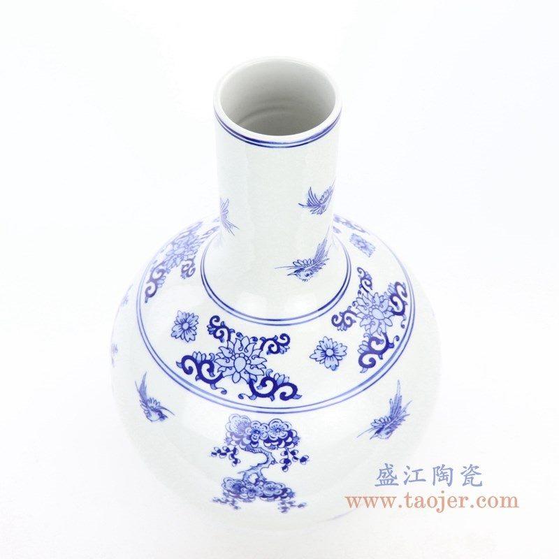 RYCI63 盛江陶瓷 仿古做旧青花瓷浮雕花瓶天球瓶