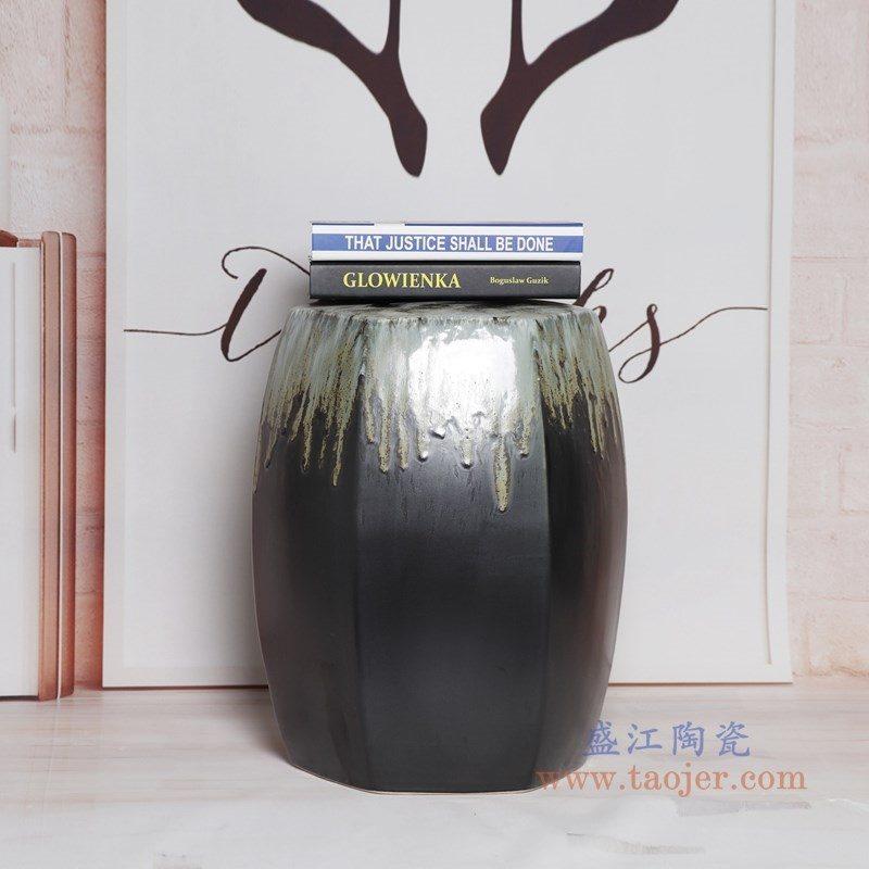 RYIR109-K盛江陶瓷 六边方棱形渐变色坐墩