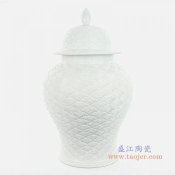 RYJF68 景德镇陶瓷 雕刻将军罐手工白色海水浪鱼纹陶瓷将军罐