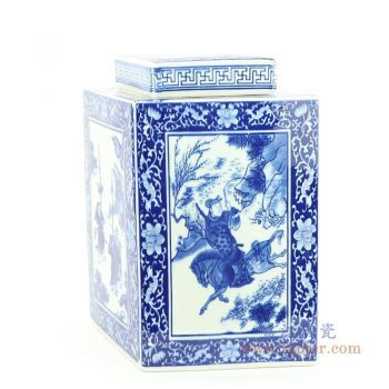 RYJF69 景德镇陶瓷 明清古典菱形青花瓷茶叶罐