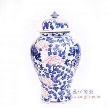 RYLU163 景德镇陶瓷 青花釉里红牡丹花纹将军罐
