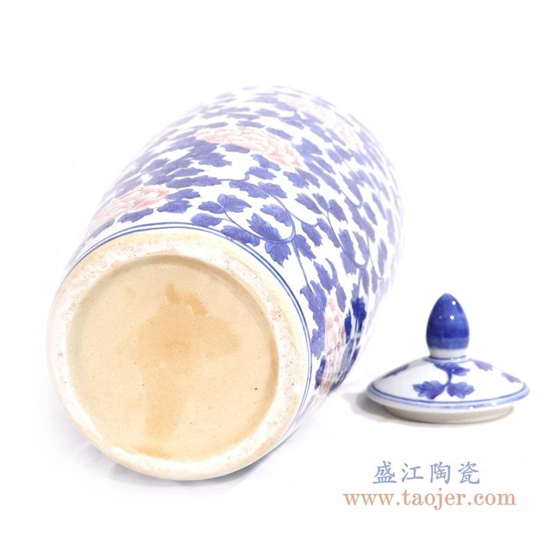 RYLU164 盛江陶瓷 青花釉里红牡丹花纹缠枝连冬瓜罐
