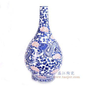 RYLU165 景德镇陶瓷 青花釉里红牡丹花纹龙胆瓶