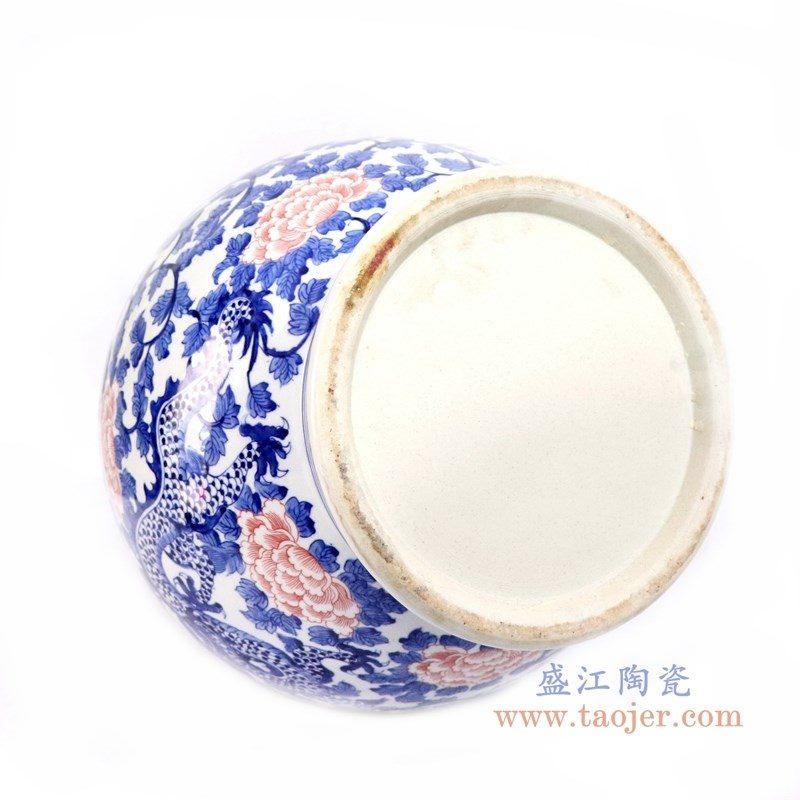 RYLU165 盛江陶瓷 青花釉里红牡丹花纹龙胆瓶