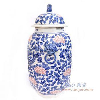 RYLU166 景德镇陶瓷 青花釉里红牡丹花纹冬瓜罐