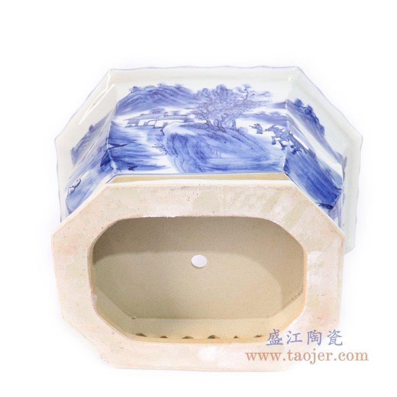 RYLU168-big 盛江陶瓷 仿古手绘青花山水人物多边形花盆