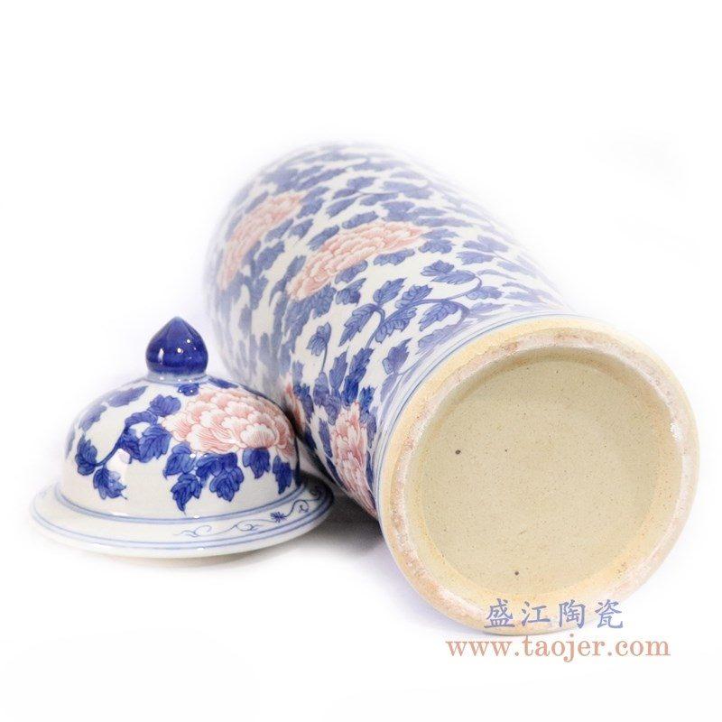 RYLU171 盛江陶瓷 青花牡丹花纹釉里红冬瓜罐
