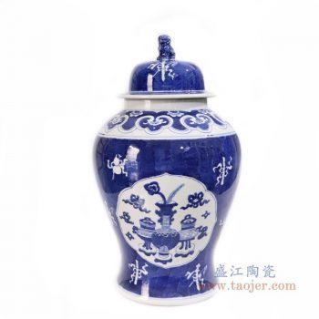 RYLU174 景德镇陶瓷 仿古青花博古将军罐