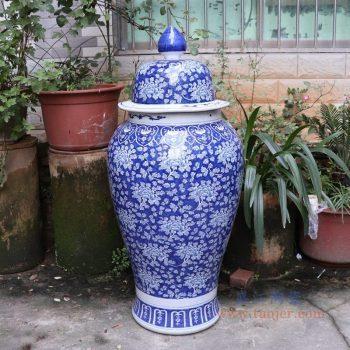RYLU175-B 景德镇陶瓷 青花带盖储物罐将军罐