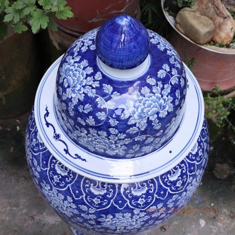 RYLU175-B  盛江陶瓷 青花带盖储物罐将军罐