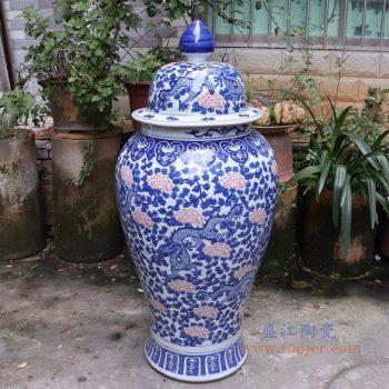RYLU175-C 景德镇陶瓷 青花带盖储物罐将军罐