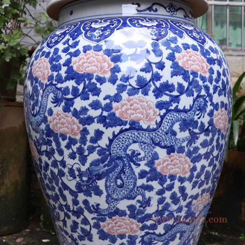 RYLU175-C 盛江陶瓷 青花带盖储物罐将军罐