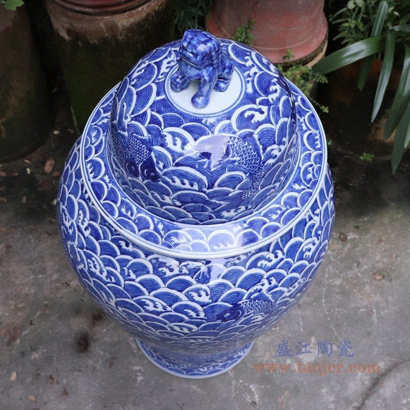 RYLU175-D 盛江陶瓷 青花带盖储物罐将军罐