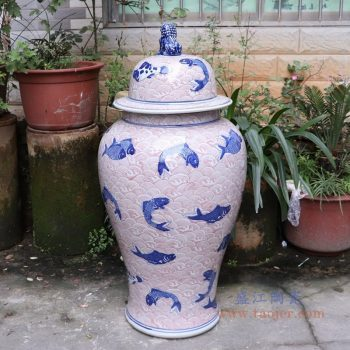 RYLU175-G 景德镇陶瓷 青花带盖储物罐将军罐