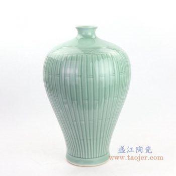 RYMA103 景德镇陶瓷 高温颜色釉雕刻影青豆绿瓜菱花瓶