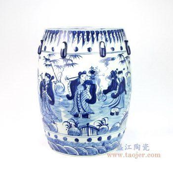 RYNQ251-C 景德镇陶瓷 青花瓷器梳妆凳坐墩时尚家居庭院客厅样板间摆件边几瓷凳子