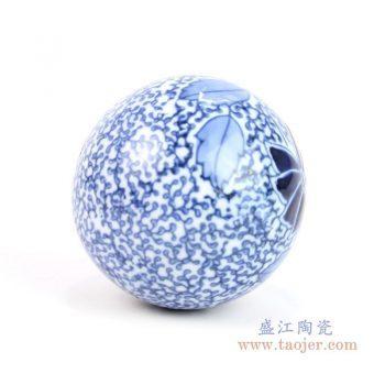 RYPU23-G 景德镇陶瓷 青花陶瓷球装饰装修 家居摆件 鱼池鱼缸装饰