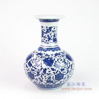RYUJ25 景德镇陶瓷 青花瓷缠枝莲花瓶