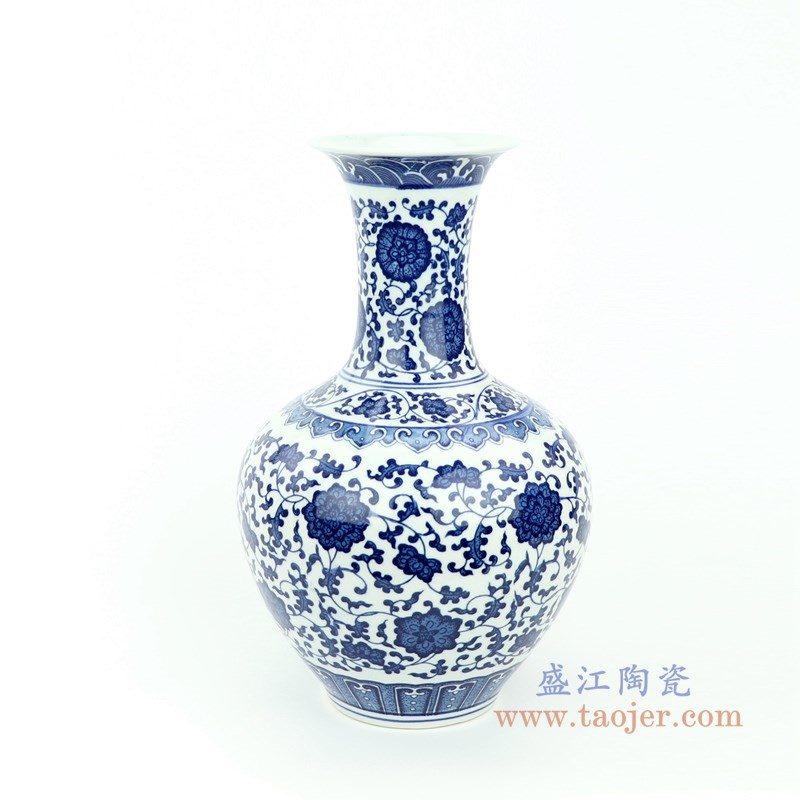 RYUJ26 盛江陶瓷 青花瓷缠枝莲插花花瓶