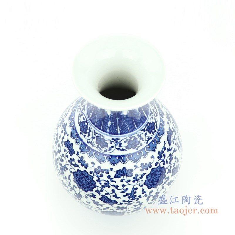RYUJ27 盛江陶瓷 青花瓷缠枝莲插花花瓶