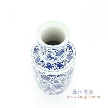 RYUJ29 景德镇陶瓷 手绘青花缠枝连棒追瓶花瓶