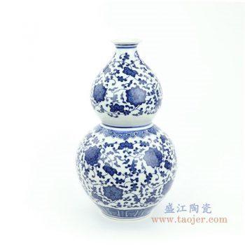 RYUJ30 景德镇陶瓷 手绘青花缠枝莲花开富贵葫芦瓶