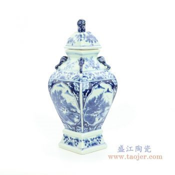RYUK34 景德镇陶瓷 青花狮子头将军罐