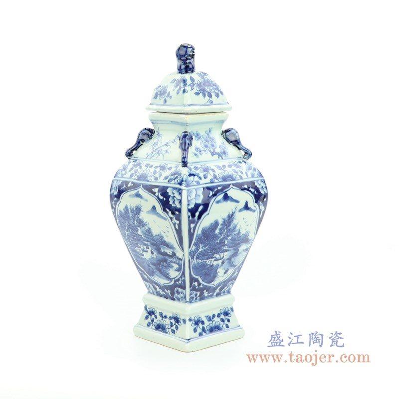 RYUK34 盛江陶瓷 青花狮子头将军罐
