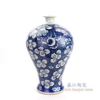 RYWD28 景德镇陶瓷 大明蓝底青花装饰梅瓶