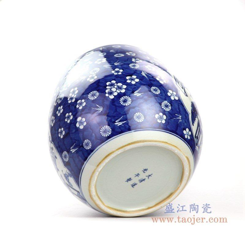 RYWD30-A 盛江陶瓷 青花冰梅开光小缸