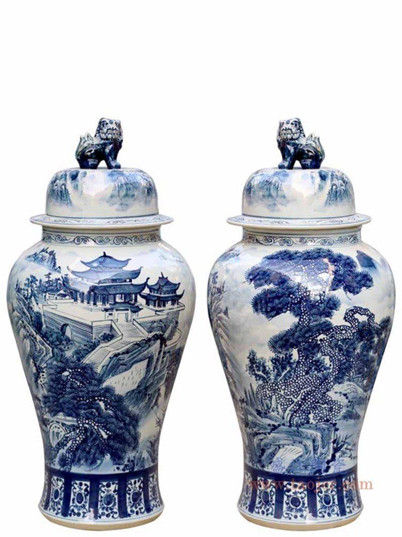 RYWY06-C 盛江陶瓷 青花山水人物狮子头将军罐