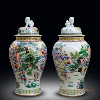 RYWY12 景德镇陶瓷 落地大花瓶仿古粉彩童子将军罐
