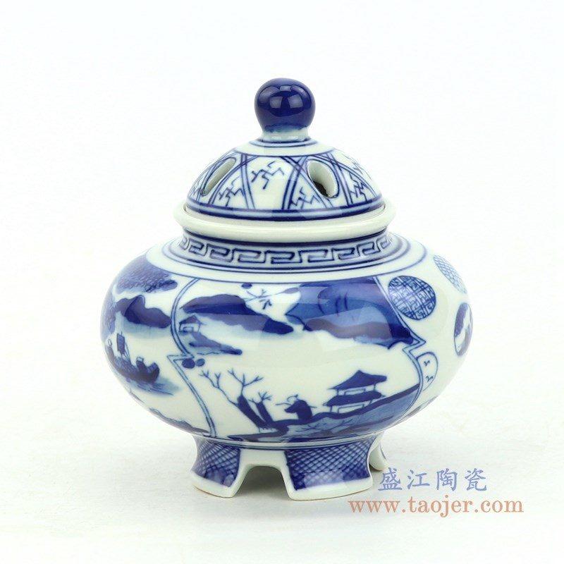 RZBP04-E_盛江陶瓷 手绘青花开窗山水香炉