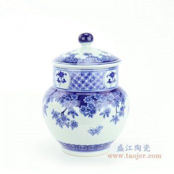 RZBV07 景德镇陶瓷 青花缠枝莲茶叶罐