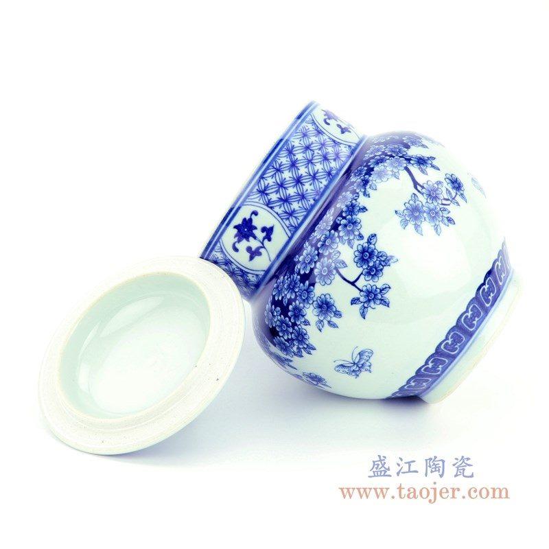 RZBV07 盛江陶瓷 青花缠枝莲茶叶罐