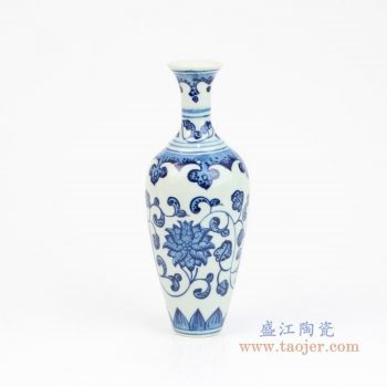 RZEV01-S 景德镇陶瓷 手绘青花缠枝莲花瓶