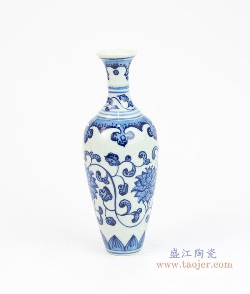 RZEV01-S 盛江陶瓷 手绘青花缠枝莲花瓶