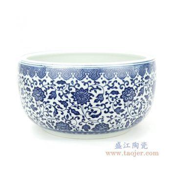 RZFU17-B 景德镇陶瓷 经典缠枝莲瓷缸大号